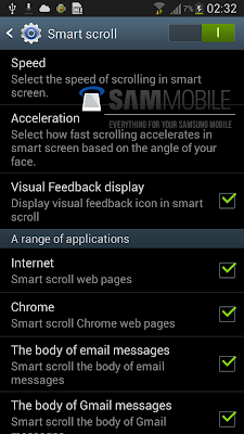 Samsung Smart Scroll Settings