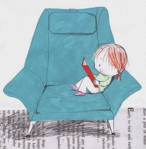 illustration by Jane Massey of a little kid reading in an armchair