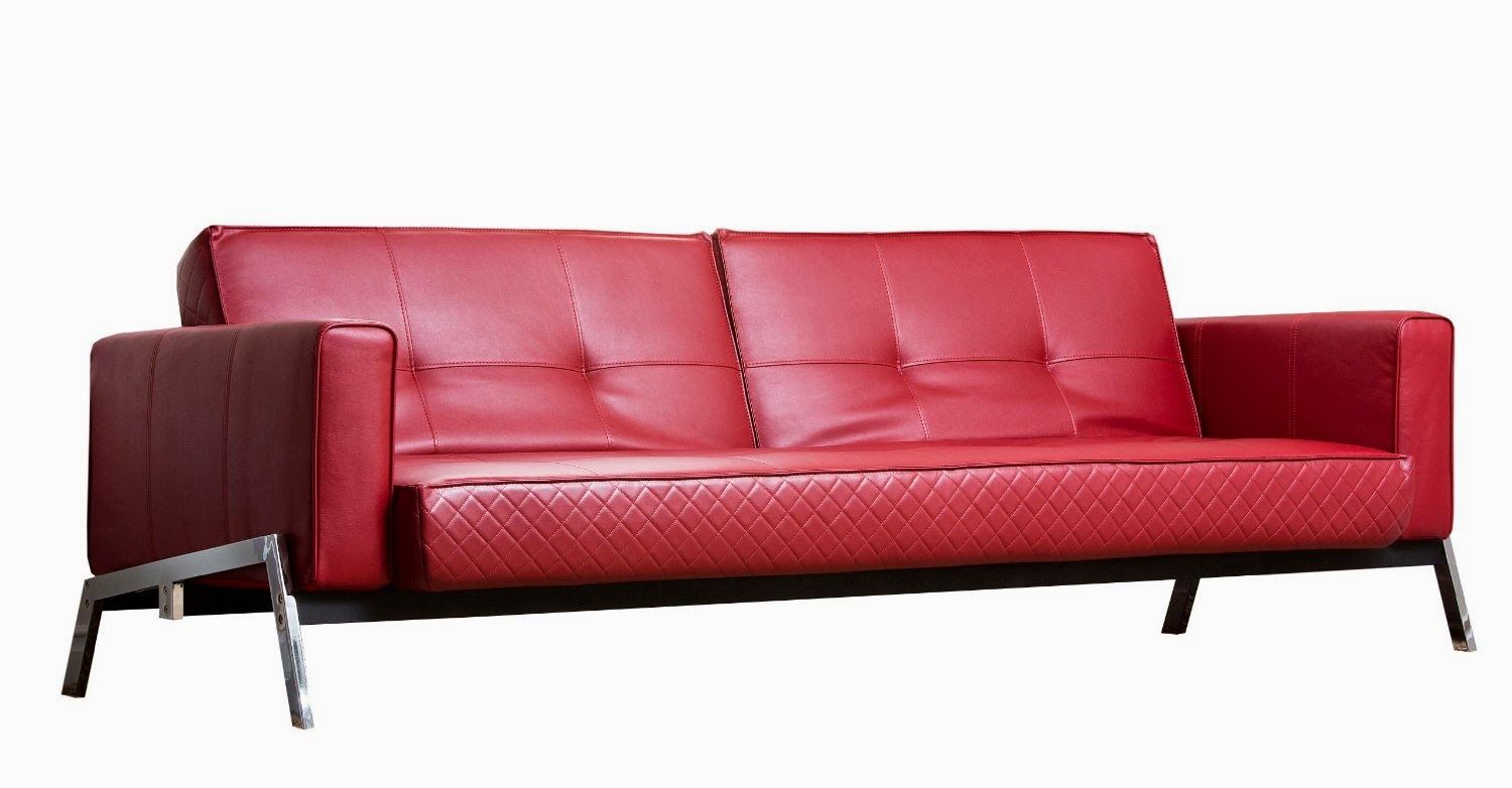 red abbyson faux leather convertible sofa - Sleeper Sofa Sectional