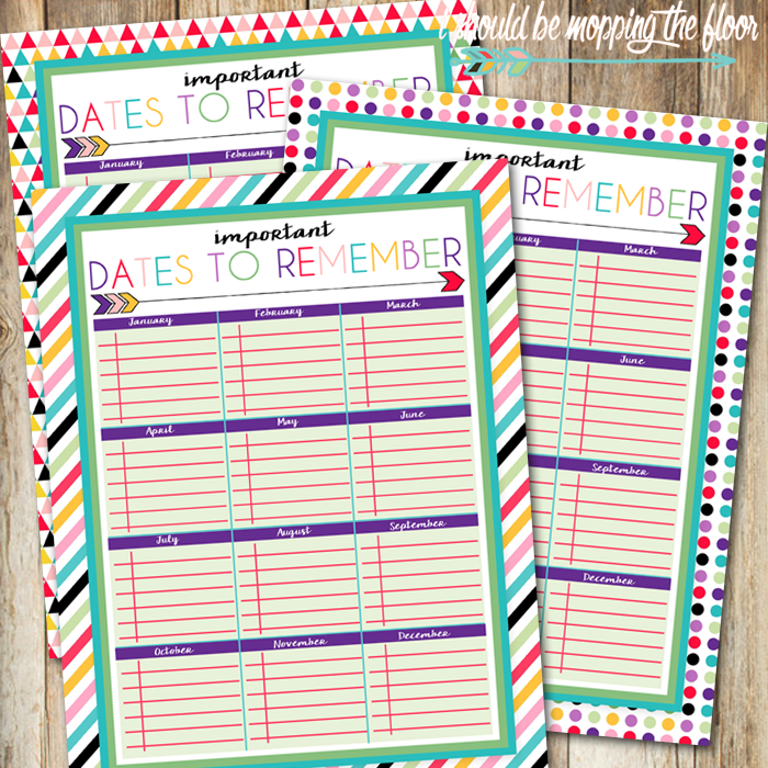 Free Printable Dates to Remember Log | Perfect for family birthdays, anniversaries, and more! | This is a part of a series of over 30 free organizational printables from ishouldbemoppingthefloor.com | Three Designs & Instant Downloads