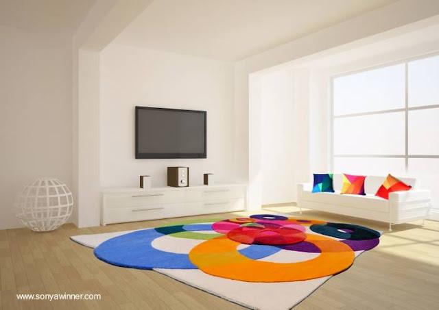 Alfombra contemporánea de área diseño artístico