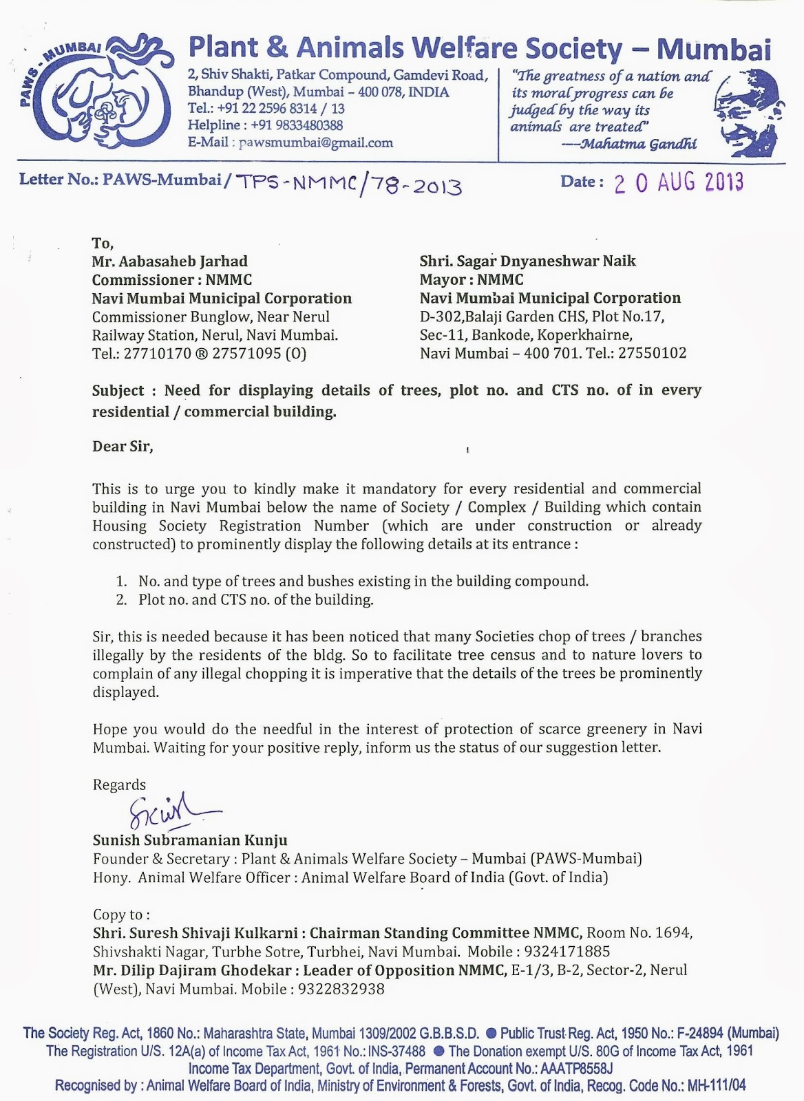 Suggestion Letter | Paws Mumbai Press Kit Update Paws Mumbai Send Suggestion To Mcgm