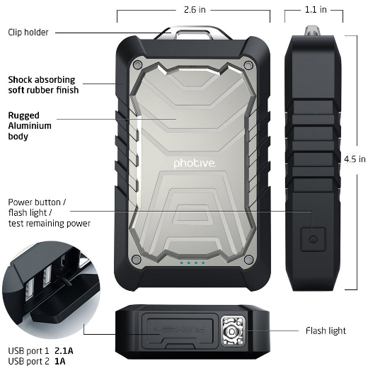 Photive BOLT 9000mAh Rugged and Water Resistant Portable External Battery Charger. Water/Shock/DustProof USB Charger for Smartphones and Tablets. - image