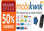 MobiKwik: 50% Cashback on Recharge & Bill Payments