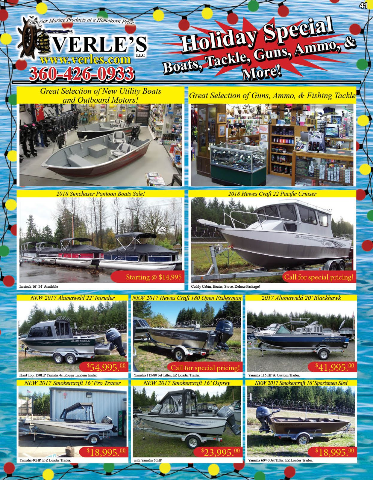 Verles Holiday Specials on Boats & Tackle, Guns & Ammo, More!!