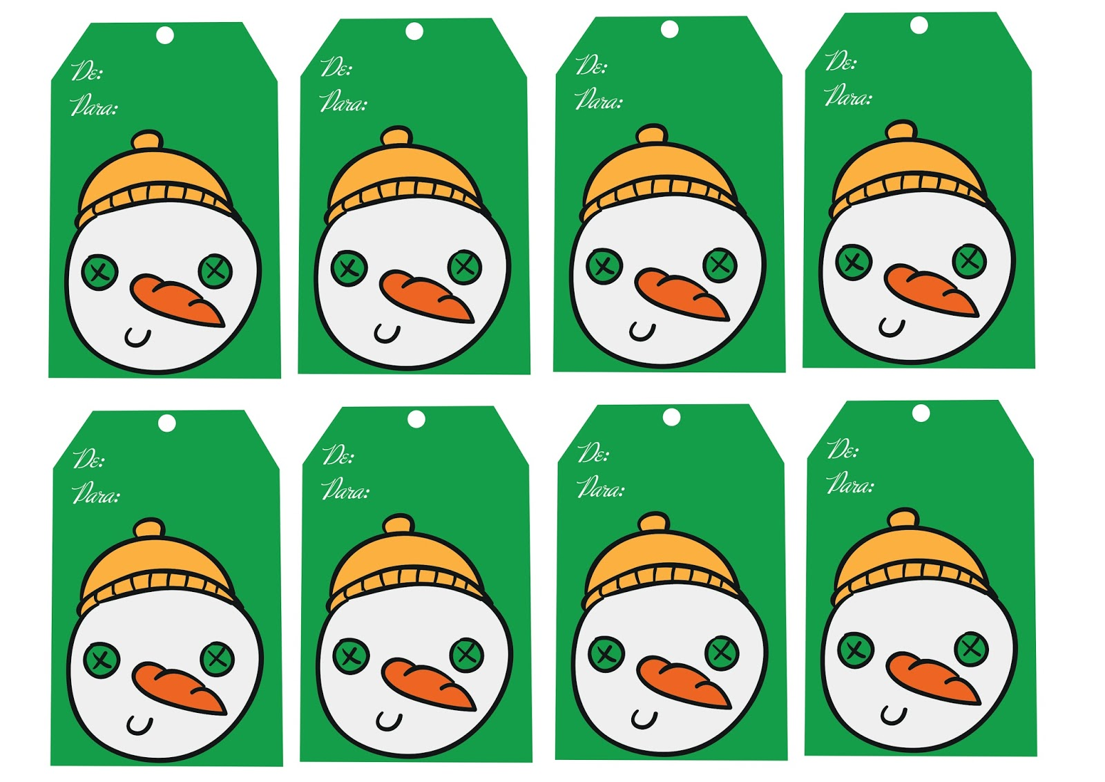"""Cartões de Natal """"De, Para"""" para Imprimir"""