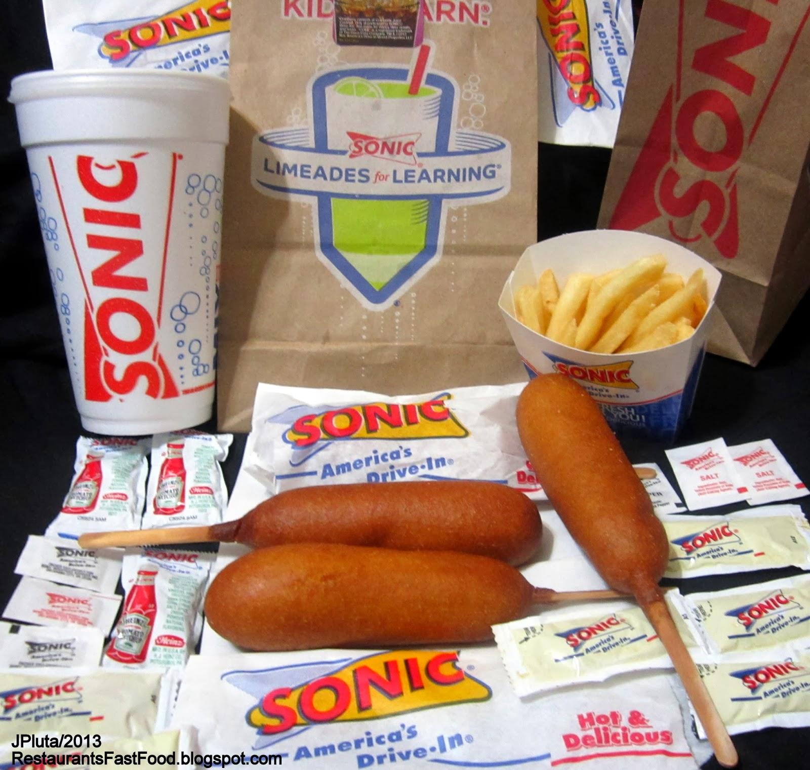 Sonic Drive In Corn Dogs French Fries Vanilla Milk Shake Fast Food Hamburger Restaurant Ketchup