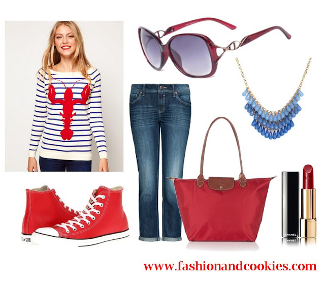 Casual set with lobster sweater, Firmoo sunglasses, Fashion and Cookies