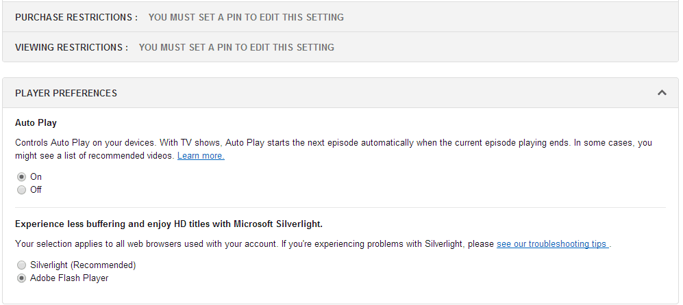 Amazon Instant Video Contents Change to Flash Player