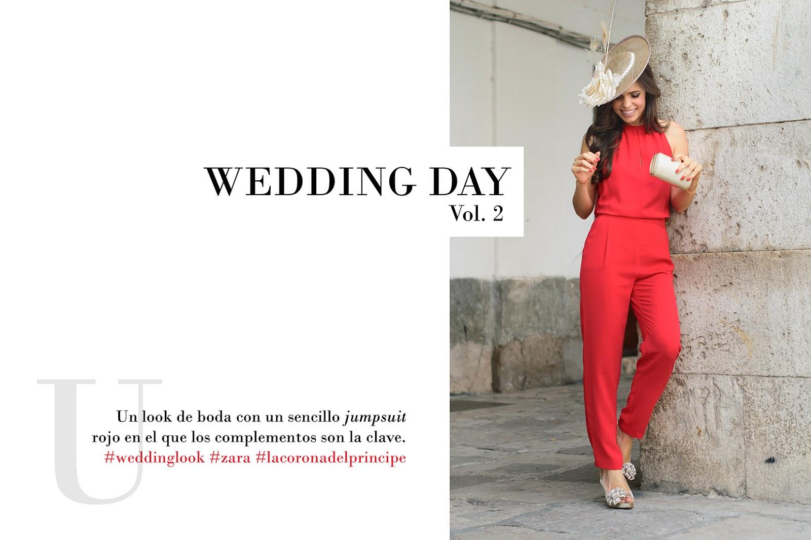 Look de boda con jumpsuit rojo de Zara y Pamela