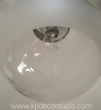 comprar lampara antigua de cristal, lamparas redondas vintage y retro años 70 en cristal y metal