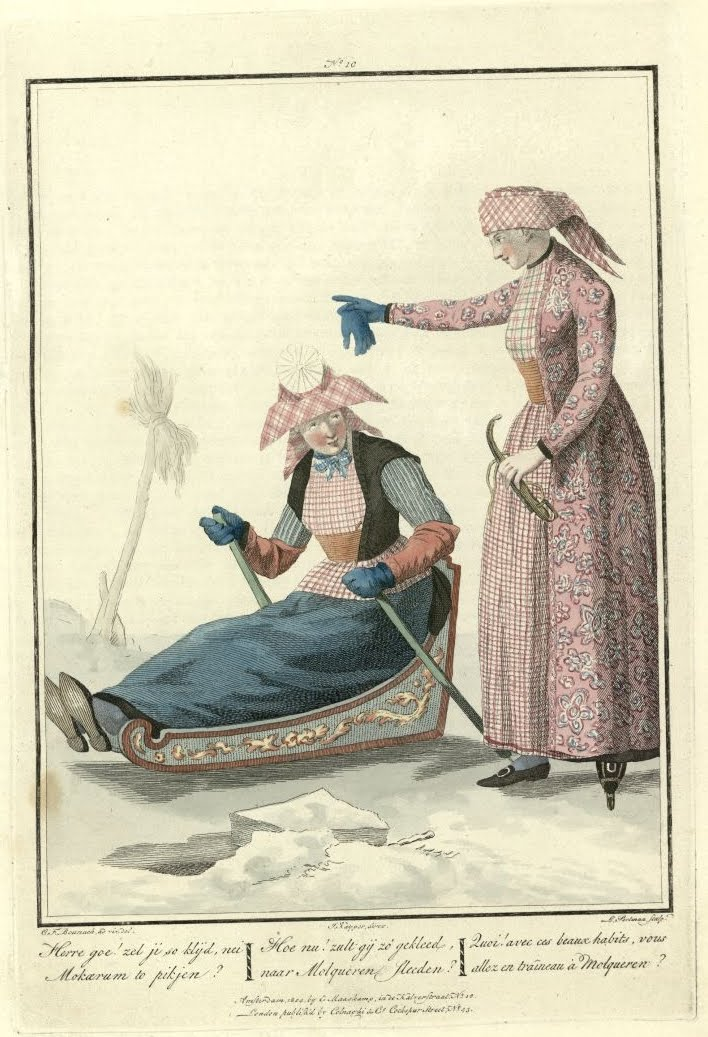 well-dressed woman in sled alongside standing woman (engraving of 19th c Dutch customary clothes)