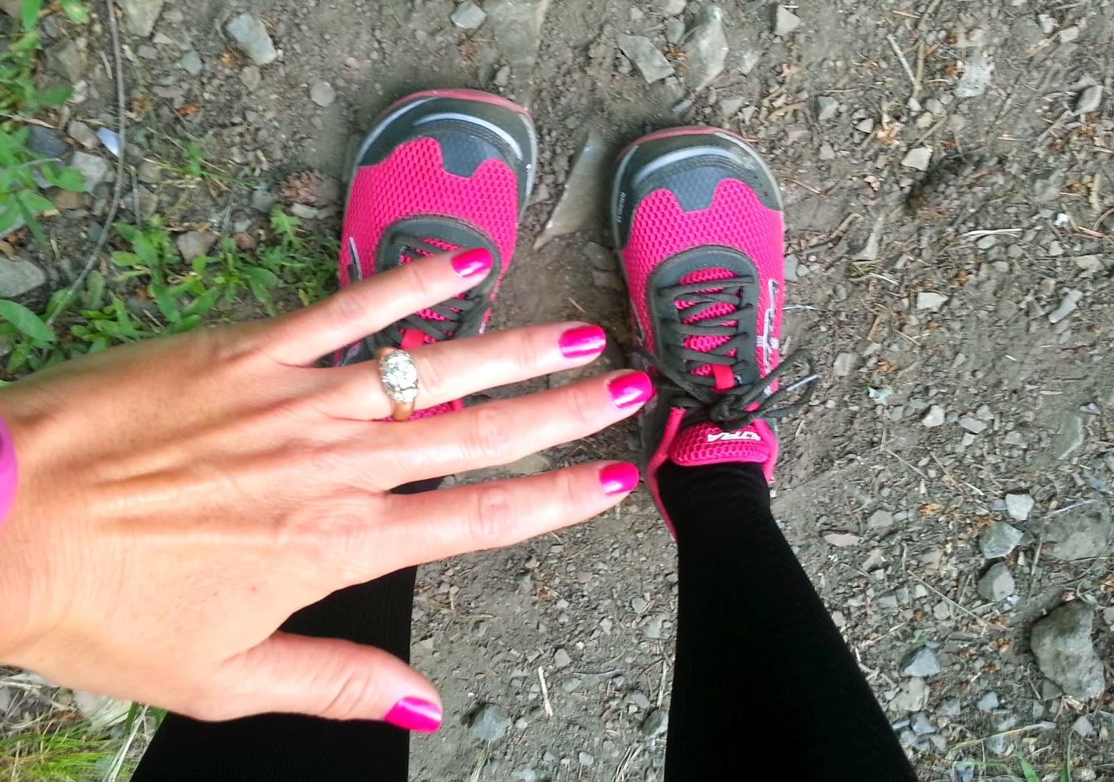 Pink nails hiking