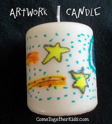 http://www.cometogetherkids.com/2011/02/artwork-candles.html
