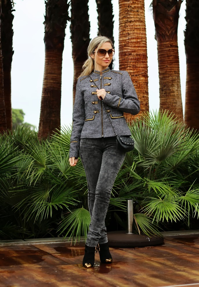 look do dia, military trend, jacket, tendência militar, outono inverno 2013 2014, casaco, coat, promod, spikes, tachas, skinny jeans, black, golden, dourado, outfit post, blog  de moda, portugal, consultoria de imagem, streetstyle, fashion blog, style statement, first impression, montargil, hotel do lago