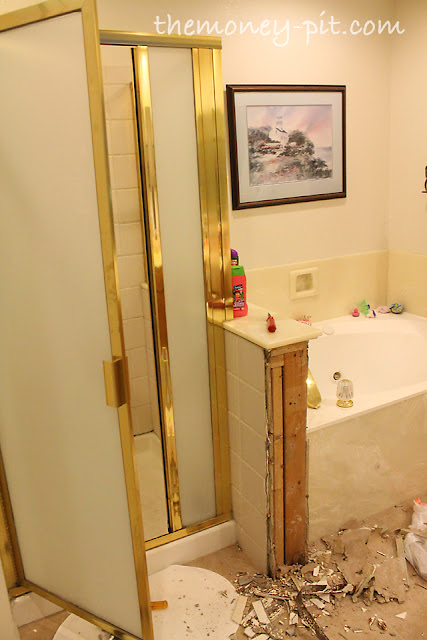 Master bathroom day 1 2 demo the kim six fix for Empty master bathroom