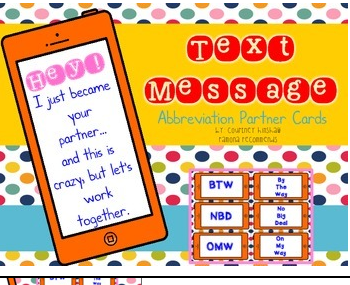 http://www.teacherspayteachers.com/Product/Back-to-School-Texting-Abbrevation-Partner-Cards-1366371