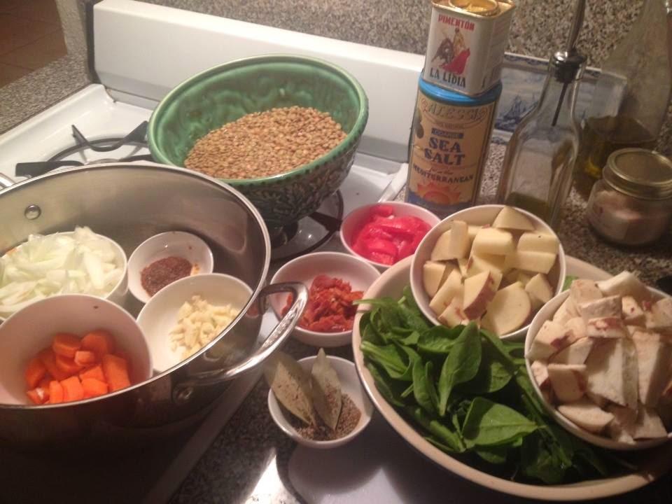lentil soup mis-en-place
