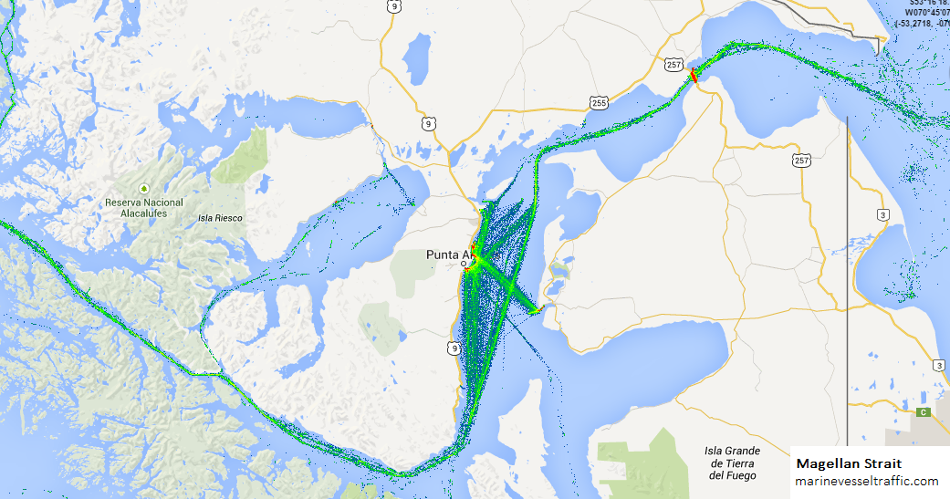 Magellan Strait Ship Traffic Tracker Marine Vessel Traffic