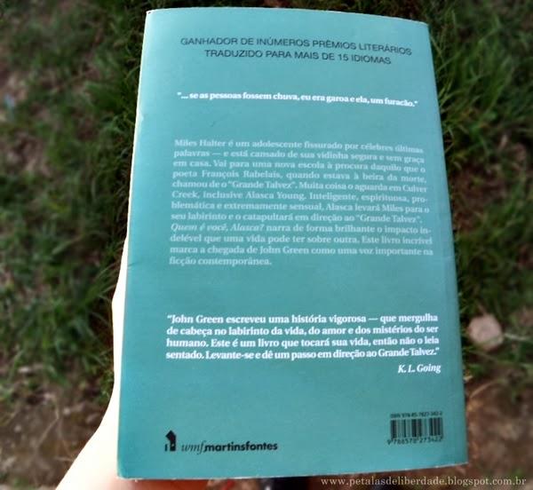 Contracapa, Quem é Você, Alasca?, John Green, WMF Martins Fontes, livro, resenha, onde comprar, quotes, trechos, citações, sinopse, resumo, primeiro capítulo, pdf, baixar