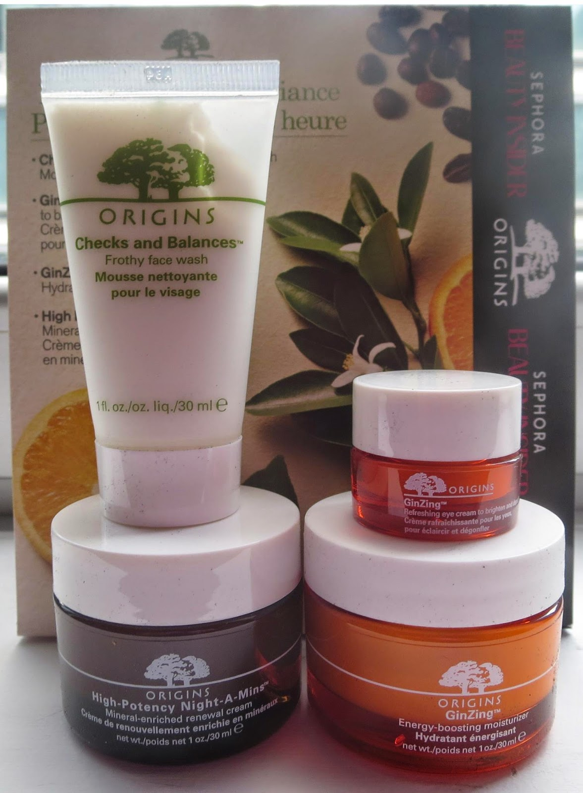 a picture of the 500 points beauty insider origins box set (checks and balances, ginzing eye cream, ginzing moisturizer, high potency night a mins cream)