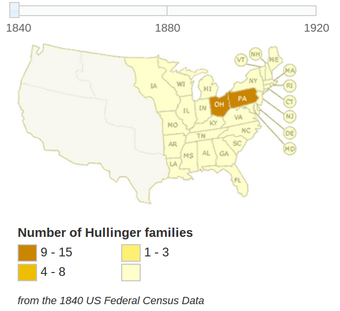 Hullinger Heritage Origins and Locations of People Who Share Our