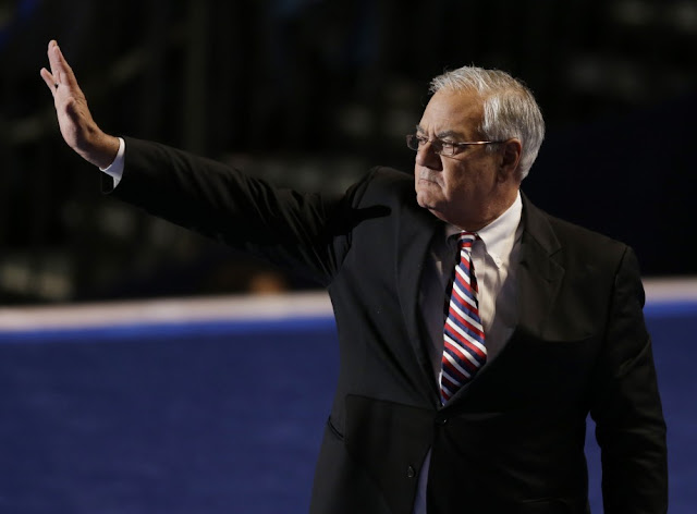 Rep. Barney Frank of Massachusetts waves to delegates after his speech at the Democratic National Convention.