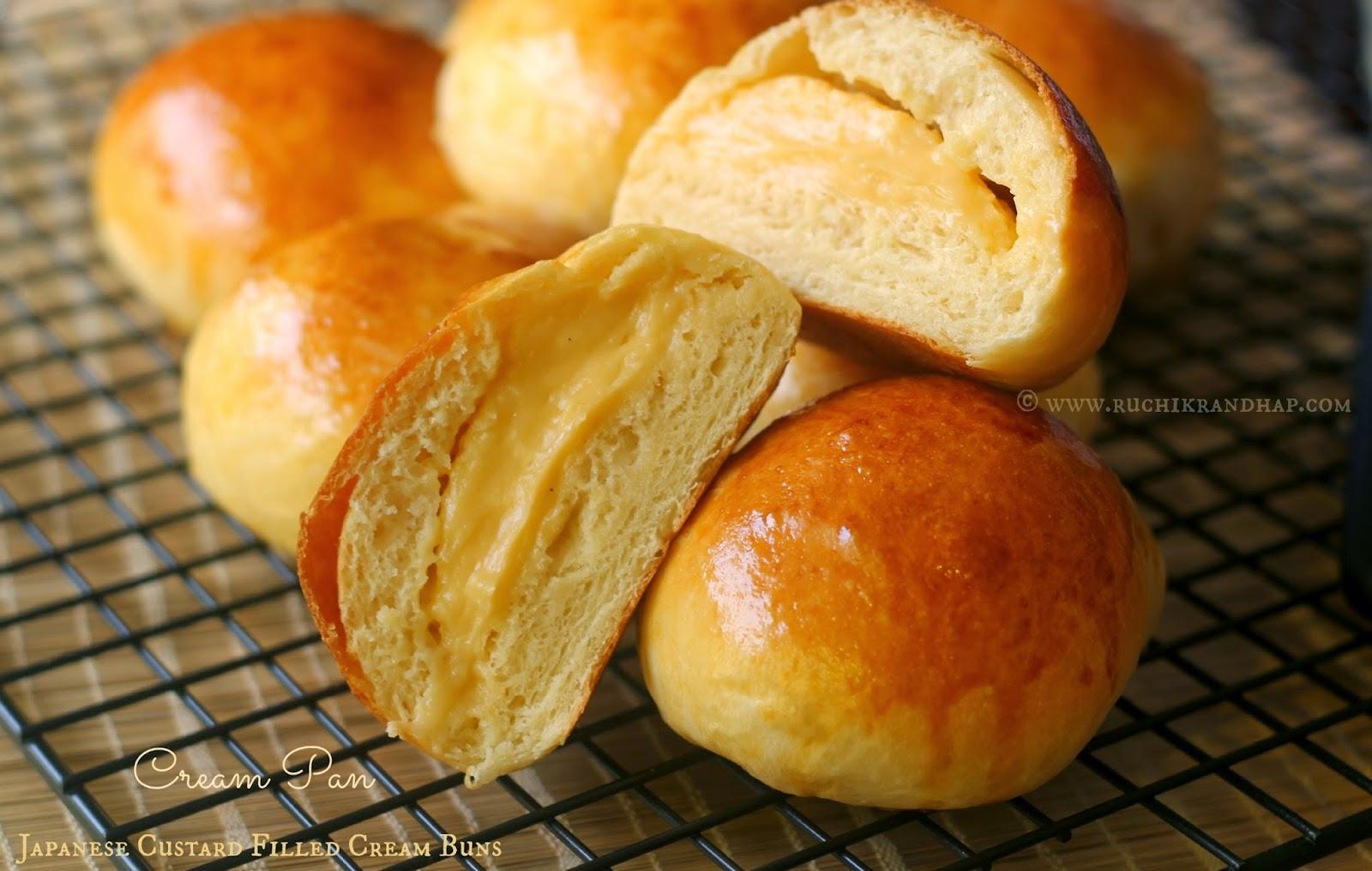Cream Pan ~ Japanese Custard Filled Cream Buns #Breadbakers