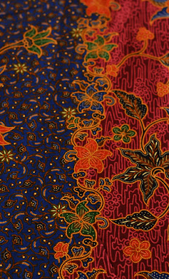 Duo-tone Blue and Red Balinese Style Flower Batik
