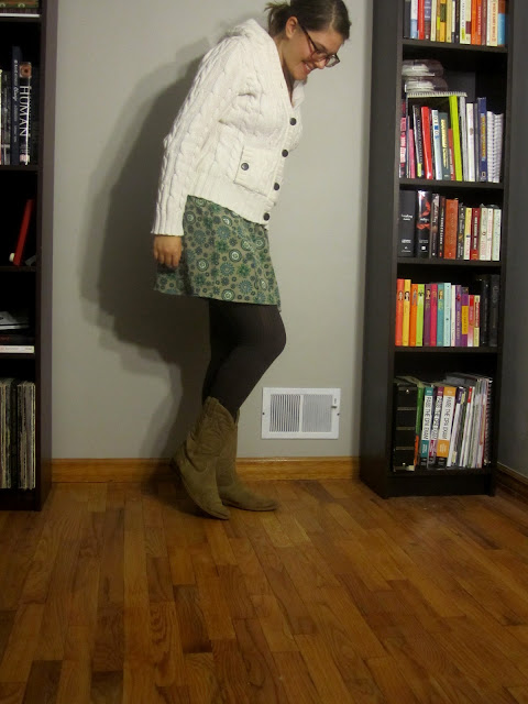 floral skirt, gap sweater