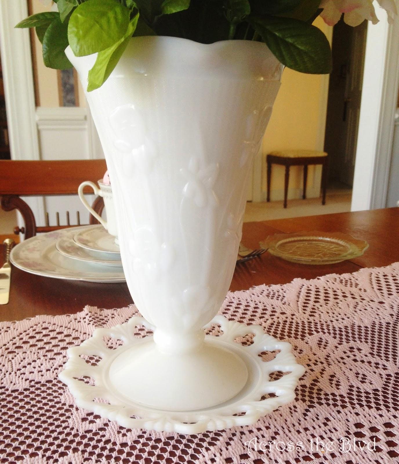 Iris and Herringbone Milk Glass Vase