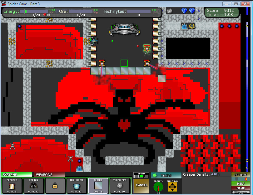 Spider cave part 3 1884 creeper world 2 walkthroughs next i chose to go down the right side so i blocked off the head and constantly had 2 blasters reducing the horns once the reactors are done i increase it gumiabroncs Gallery