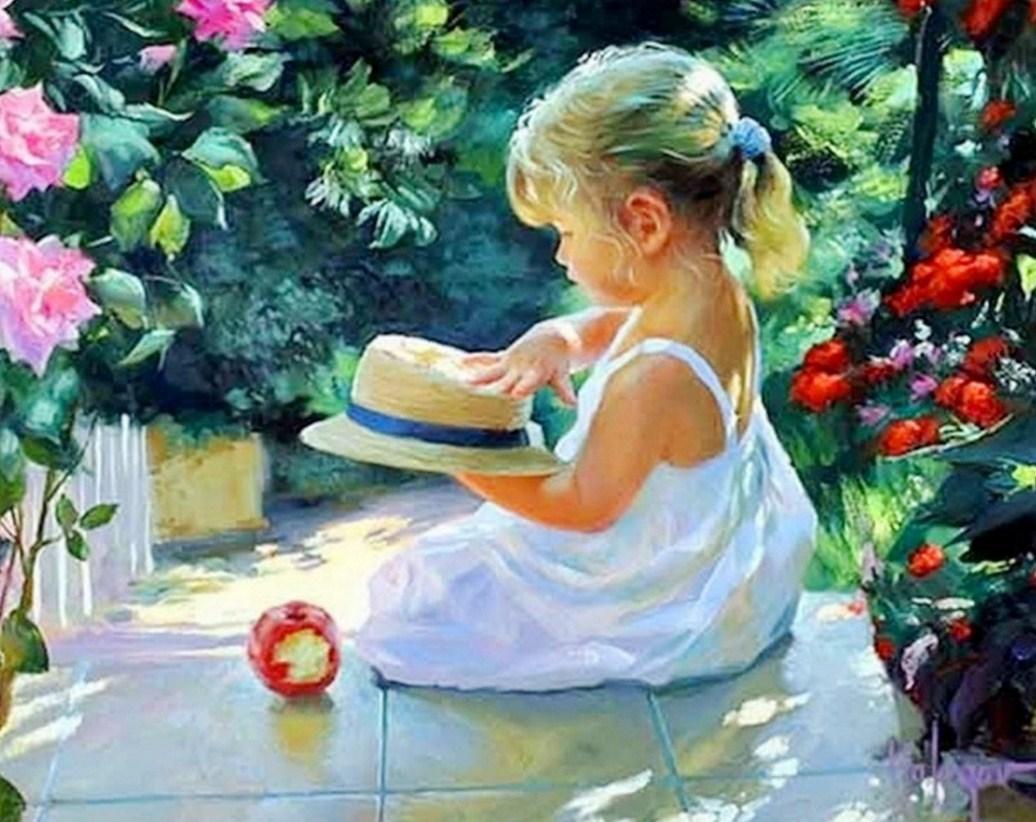 Pinturas cuadros lienzos cuadros de ni as en el jard n for Cuadros para el jardin