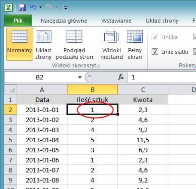 Blokowanie wiersza i kolumny jednocześnie - screen Excel 2010