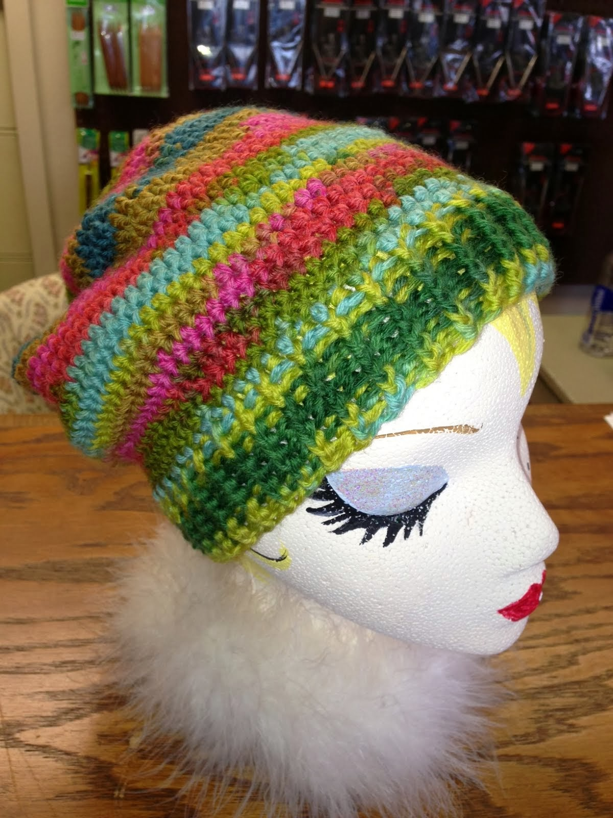 Cool crocheted hat!