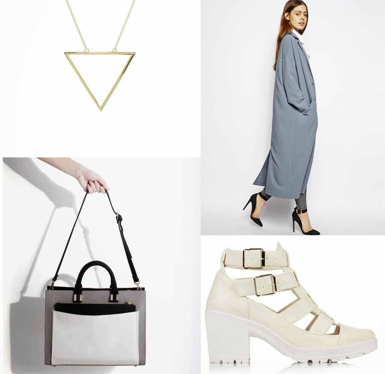 Zara City Bag ASOS Duster Coat ASOS Triangle Necklace Topshop WHite Cut Out Boots