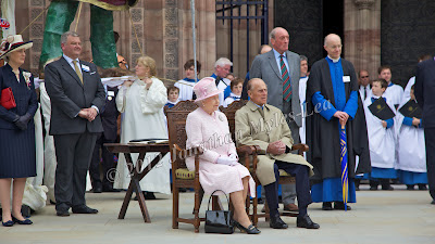 Glyn Morgan with HM The Queen & HRH The Duke of Edinburgh at Hereford Cathedral. Photo © Jonathan Myles-Lea