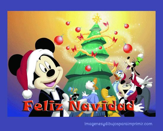 personajes disney alrededor del arbol de navidad