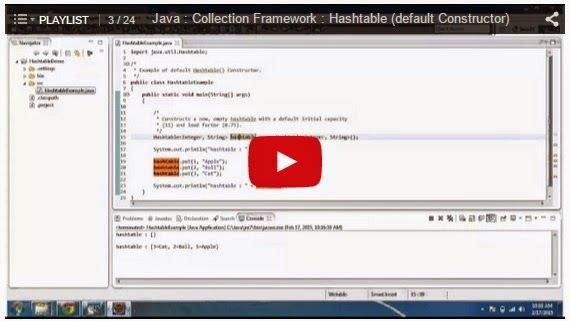 Java Ee Java Collection Hashtable Sample Programs Or Examples
