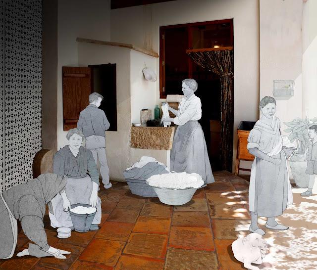 higiene, criadas, servicio, burguesia, huerta, museo, Torrente, dibujo