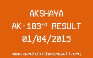 AKSHAYA AK 183 Lottery Result 1-4-2015