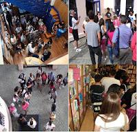 foto da visita de mozos italianos á Biblioteac Rialeda