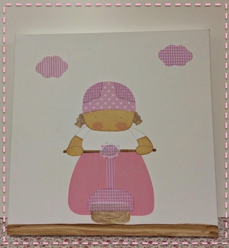 cuadro-decoración-infantil-vespa-rosa