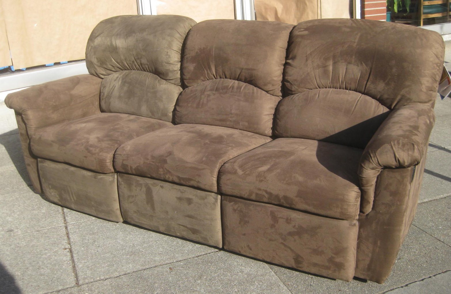Uhuru furniture collectibles sold microsuede sofa for Suede furniture