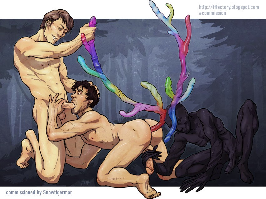 hannibal nbc slash fanart porn art hannigraham stagman wendigo antlers deer stag raven rainbow dildo oral anal toys threesome night forest hugh dancy naked