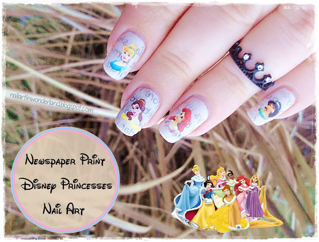 Twinsie Tuesday: Words | Newspaper Print and Disney Princesses Nail Art