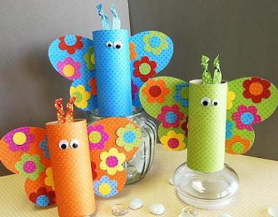 borboletas com rolo de papel higiênico