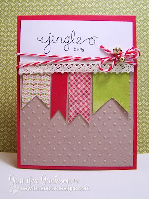 Jingle Bells Card using Holiday Wishes Stamps by Newton's Nook Designs
