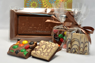 2 piece chocolate barks and Chicago Skyline Chocolate Bar