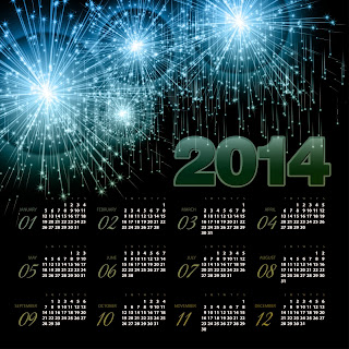 Firework felicitation celebrating Happy New year 2014 Calendar